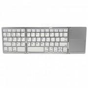 Teclado Bluetooth de 3 clavijas de 64 teclas con llave multi-media - Blanco + Plata