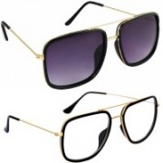 Phenomenal Retro Square, Spectacle Sunglasses(Black, Clear)