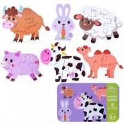Set 6 puzzle in cutie metalica- Animale domestice