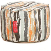 Style Homez Round Cotton Canvas Stripes Printed Bean Bag Ottoman Stool Large Cover Only Multi Color
