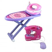 Dimple DC11550 Girls Ironing and Sewing Set with Toy Iron/Ironing Board and Sewing Machine