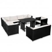 vidaXL Set mobilier grădină, 31 piese, poliratan, negru și alb crem