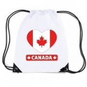 Bellatio Decorations Canada hart vlag nylon rugzak wit