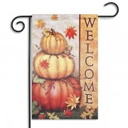 30x45cm Halloween Polyester Pumpkin Leaves Welcome Flag Garden Holiday Decoration