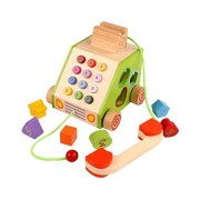 WE-Blink Wooden Pull Along Telephone Multifunction Toy