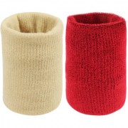 Neska Moda Unisex Beige And Maroon Pack Of 2 Cotton Wrist Band