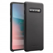 QIALINO Cowhide Leather Back Cover Shell Case for Samsung Galaxy S10 Plus - Black