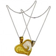 Men Style Best Gifts His and Hers Couples Heart I Love You Necklace Set Two Tone Gold And Silver Stainless Steel Heart Necklace Pendent For Men And Women
