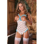 Exposed: Luv Lace Bridal, Cupless & Crotchless Teddy, vit