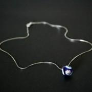 C0624 Colar de prata grume 925 c/ Pingente de Olho Grego azul