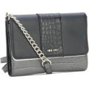Nine West Women Black, Grey Genuine Leather Sling Bag