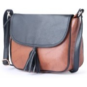 Italian Sheer Black, Tan Satchel