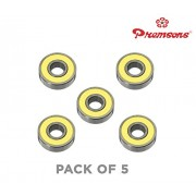 Premsons 608 Ball Bearing - Pack of 5 - for Hand Spinner Fidget Kit and Skateboard, 22x10x7 mm Skate Bearings Toy Replacement Part - Yellow