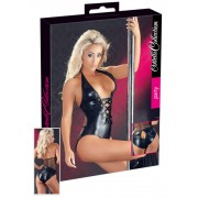 Cottelli – lesklé-šnúrkované body s ramienkom okolo krku (čierne)