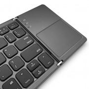 Case Studi Foldboard Touch - сгъваема алуминиева безжична клавиатура с тъч пад за таблети, смартфони и компютри с Bluetooth (черна)