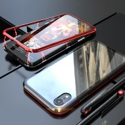 Detachable Magnetic Metal Frame + Tempered Glass Back Protection Hard Shell for iPhone XR 6.1 inch - Red/Black