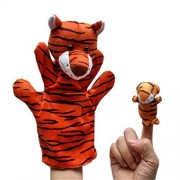 Remeehi Tell Story for Baby 2 pcs Animal Finger Puppet Plush Child Baby Early Education Toys Gift Animal Learning Tools Tiger