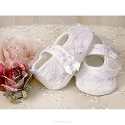 Christopher sandale fete cu tul brodat pentru botez 10-12 cm Alb