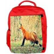 Snoogg Eco Friendly Canvas Looking Fox Designer Backpack Rucksack School Travel Unisex Casual Canvas Bag Bookbag Satchel 5 L Backpack(Red)