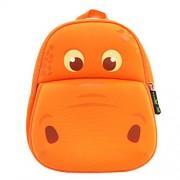 BINGONE Kids Shoulder Bag 3D Cartoon Underwater Sea Animal World 2-year-old Orange Hippo