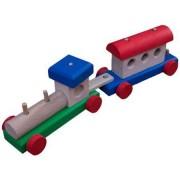 Jucarie din lemn Trenulet cu locomotiva si un vagon multicolor