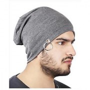Beanie Cap Men Beanie Baggy Slouchy cap hat with Ring thin winter/fall Hat (Color Grey)