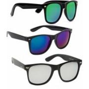 KINGSUNGLASSES Wayfarer Sunglasses(Blue, Silver, Green)