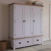 Oak Furnitureland Rustic Solid Oak & Painted Wardrobes - Triple Wardrobe - Kemble Range - Oak Furnitureland