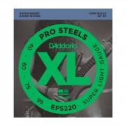 D'Addario 4 cuerdas para bajo XL Pro Steels 40-095 40-60-75-95, EPS220