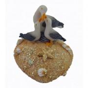Mouette et ses petits sur coeur de sable