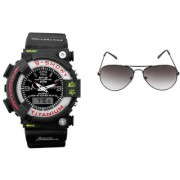 CALIBRO Black mtg Round dial men's watch Light BlackAviator Sunglass