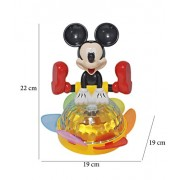 Babysid Collections Musical Toys for Infants Kids Babies Spinning Mickey Mouse with Music and 4D Light Toy Bump and Go Type