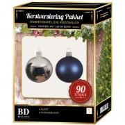 Bellatio Decorations Kerstballen set kunststof 90-delig voor 150cm zilver/donkerblauw - Kerstbal