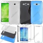 Ebeststar ® Pour Samsung Galaxy A8 Sm-A800f - Lot X3 Housse Etui Coque Silicone Gel Motif S-Line Protection Souple + Stylet + 3 Film Écran, Couleur Transparent, Noir, Bleu [Dimensions Precises De Votre Appareil : 158 X 76.8 X 5.9 Mm, Écran 5.7'']