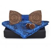 Dřevěný motýlek s kapesníčkem a manžetovými knoflíčky Gaira 709097