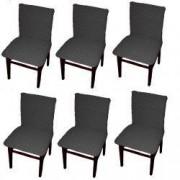 Set 6 huse elastice bicolore/gofrate cu bumbac fara volan pentru scaun TRADE STORE DELIVERY Bumbac si Poliester Gri inchis