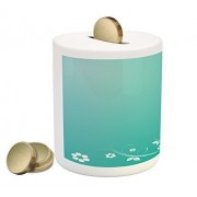 Turquoise and White Coin Box Bank by Lunarable, Flower Silhouette Leaves and Butterfly on Abstract Background, Printed Ceramic Coin Bank Money Box for Cash Saving, Turquoise and White