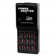 W858 USB 2.0 de alta velocidad 12-Port HUB adaptador de corriente (enchufe de la UE)