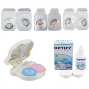 Optify Combo Pack Monthly Color Contact Lens With Travel Kit (Zero Power Tarquise-Hazel-D.grey Pack of 3)