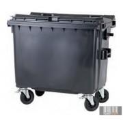 Külső hulladéktároló, Lapos fedelű műanyag konténer - 660 l