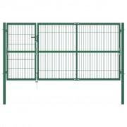 vidaXL Градинска оградна порта със стълбове 350x140 см стомана зелена