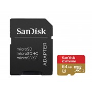 Micro SD Card, 64GB, SanDisk Extreme, 1xAdapter, Class 10 U3 (SDSQXAF-064G-GN6MA)