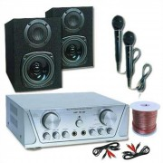 "Conjunto ""Simple-System"" HIFI HVA 200 + MC 130 + 2 Microfones + CD de Karaoke"