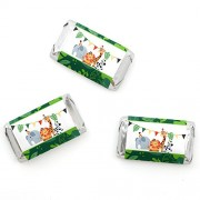 Jungle Party Animals - Mini Candy Bar Wrappers Safari Zoo Animal Birthday Party or Baby Shower Favors - 20 Count