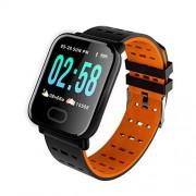 Romsion Electronics Reloj inteligente A6 IP67 impermeable con monitor de frecuencia cardíaca para Android iOS y naranja