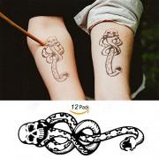 Leoars 12 Sheets Temporary Tattoos for Men Women Boys Death Eaters Dark Mark Harry Potter Mamba Skull Tattoo Sticker Body Art