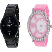 True choice IIK Collection Men And Glory Silver Chain Black Analog Couple Analog Watches For Men And Women
