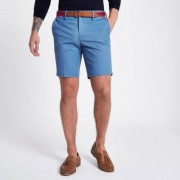 River Island Mens Blue belted slim fit chino shorts - Size 46 (EU)
