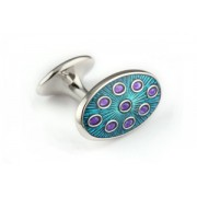 Mousie Bean Enamelled Cufflinks Oval Dots 135 Turquoise & Purple