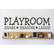 """Design with Vinyl 2015 BS 16 """"Playroom Share Imagine Laugh Kids Boy Girl Infant Baby Daycare Classroom School"""" Wall Decal, 8"""" x 20"""", Black"""